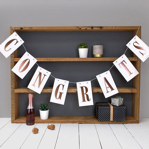 CONGRATS Rose Gold Metallic Celebration Bunting