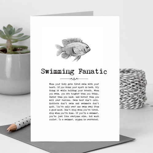 Swimming Fanatic Vintage Words Greeting Card x6