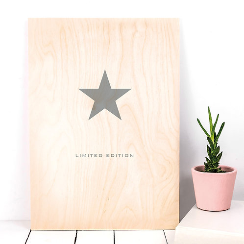 Limited Edition Star A4 Wooden Plaque Print x 3