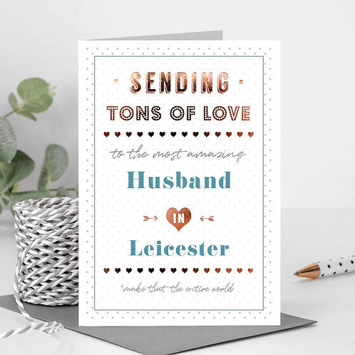 Tons of Love Dotty Personalised Card in Blue x 6