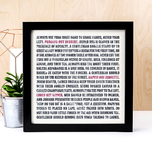 Etiquette & Traditions Unframed Typographic Print