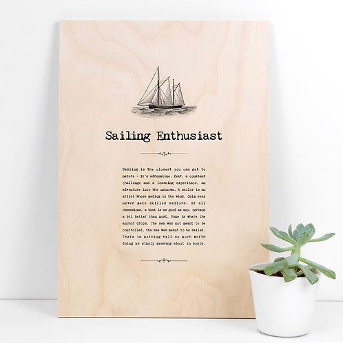 Sailing Enthusiast A4 Wooden Quotes Plaque x 3
