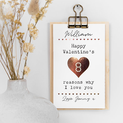 Personalised 8 Reasons I Love You Valentine's Gift