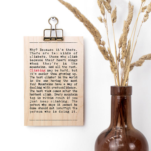 Climbing Wise Words Wooden Plaque with Hanger x 3