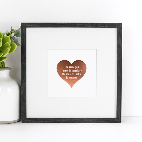 Marriage Rose Gold Mounted Unframed Print x 3