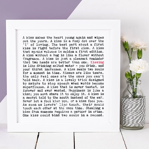 Kissing Wise Words Quotes Print