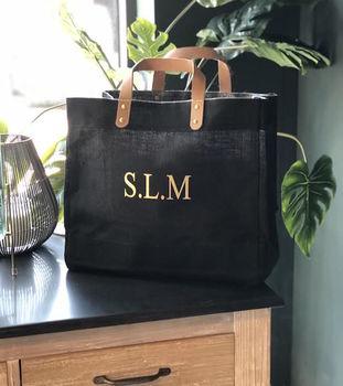 Initials Jute Shopping Bag