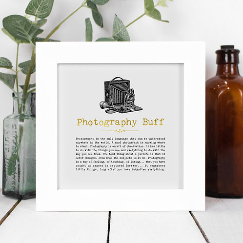 Photography Buff Personalised Framed Quotes Print