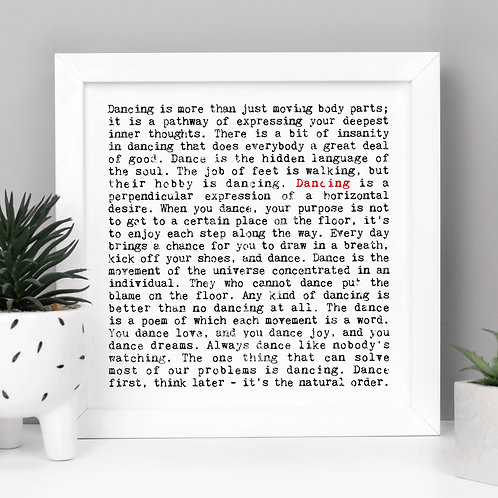 Dancing Quotes Wall Art Gift for Dancers