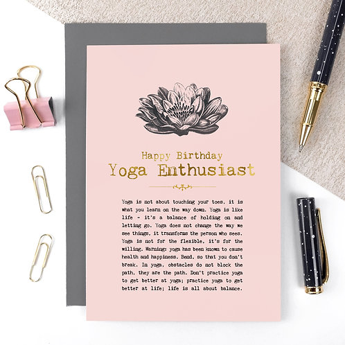 Yoga Enthusiast Luxury Foil Birthday Card with Quotes