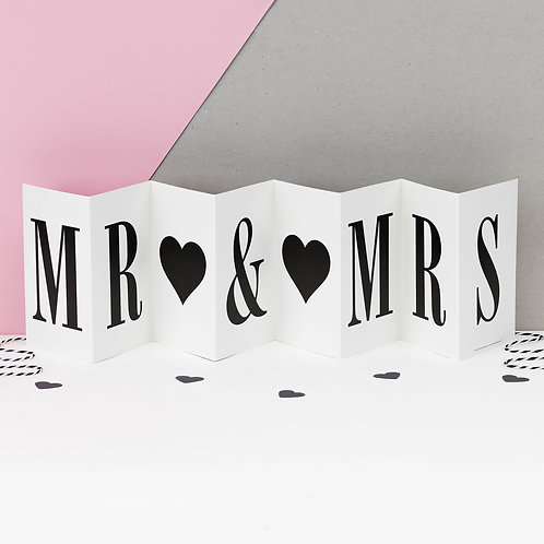 Mr & Mrs Monochrome Concertina Card x 6