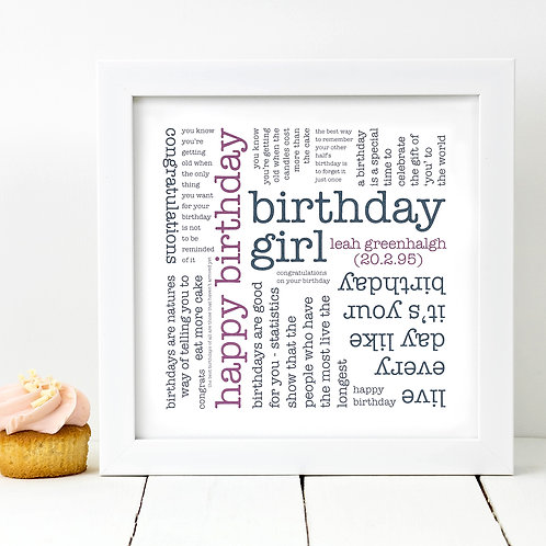Birthday Girl Quotes Personalised Print