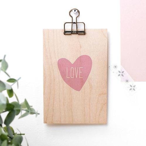 Love Heart Wooden Plaque with Hanger x 3