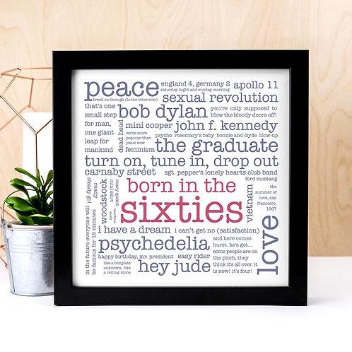 Born in the Sixties Word Cloud Print x 3