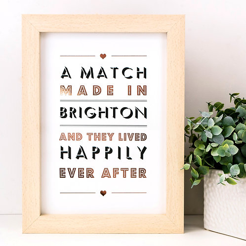 Match Made In... Personalised Metallic Print x 3