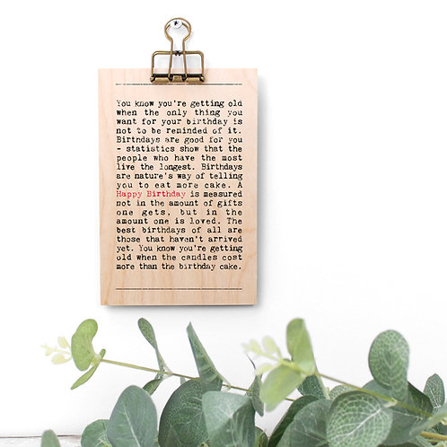 Birthday Quotes Wooden Sign with Hanger