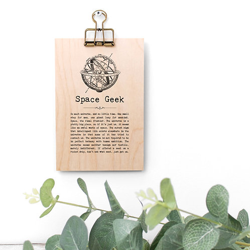 Space Quotes Wooden Sign with Hanger