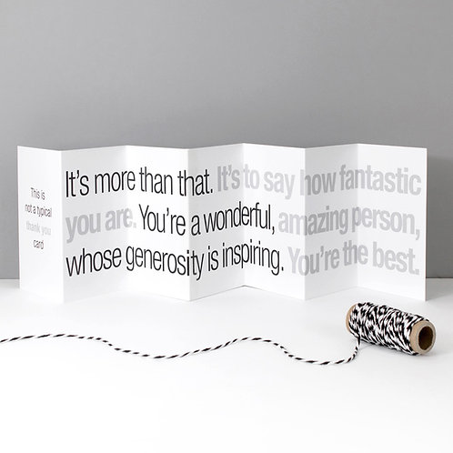 Not a Typical Thank You Concertina Card x 6