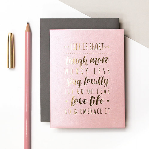 Life Quote Mini Metallic Card | Precious Metals