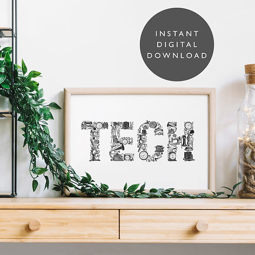 Vintage Inventions TECH A4 Printable Wall Art [DOWNLOAD ONLY]