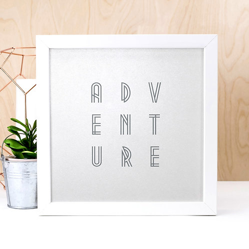 Adventure | Pearlescent Grey Art Deco Print