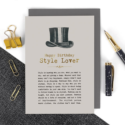 Style Lover Vintage Gentleman's Birthday Card x 6