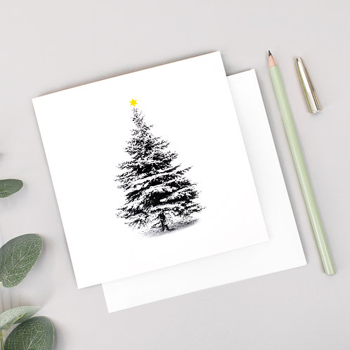 Scandi Snow Covered Christmas Tree Card