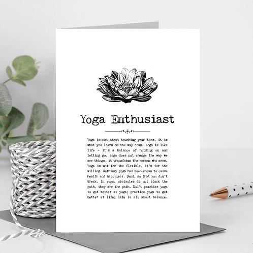 Yoga Enthusiast Vintage Words Greeting Card x6