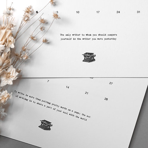 Writers Gift 2021 Luxury Monthly Wall Calendar
