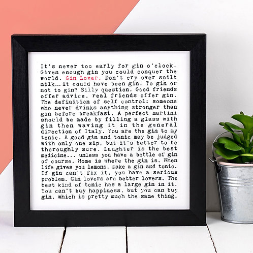 Gin Lover Wise Words Quotes Print
