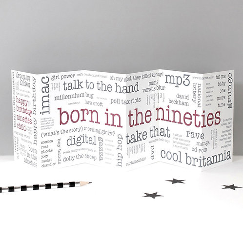 Born in the Nineties Word Cloud Concertina Card x 6