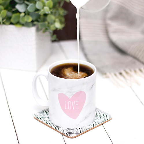 Marble & Pink Love Heart Mug for Her