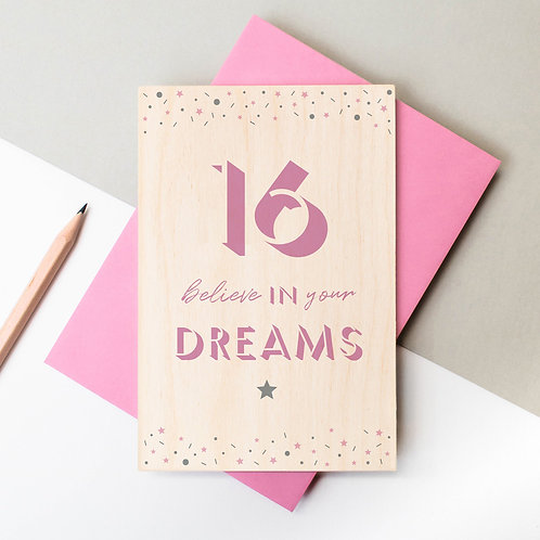 16th Birthday Wooden Plaque Card x 6