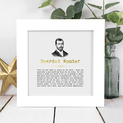 Bearded Wonder | Mini Foil Print in Box Frame x 3