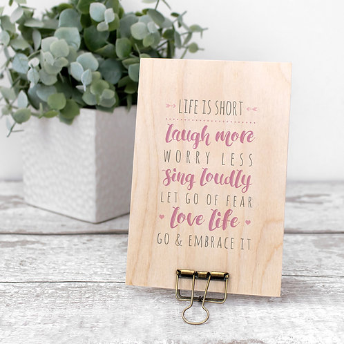 Love Life Wooden Quote Plaque with Hanger x 3