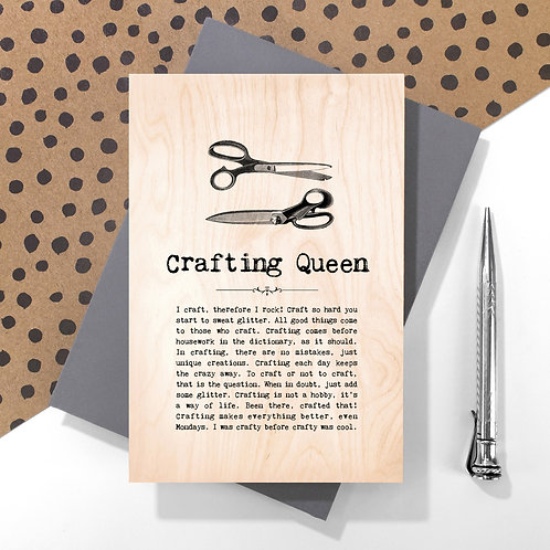 Crafting Queen Personalised Wooden Keepsake Card