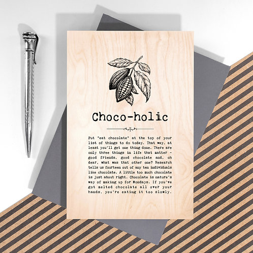 Chocoholic Personalised Wooden Keepsake Card