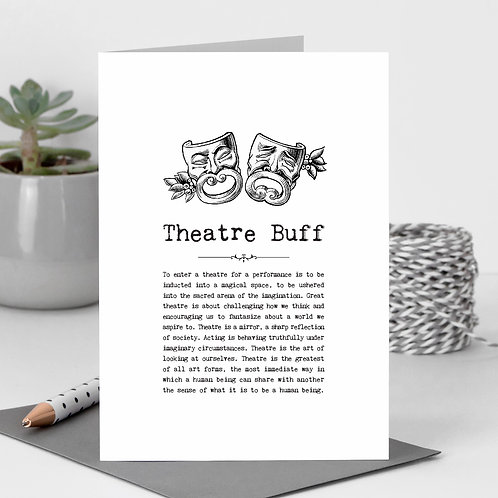 Theatre Buff Vintage Words Greeting Card x 6