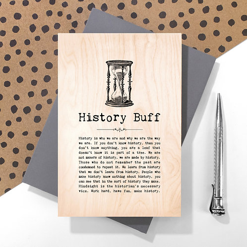 History Buff Mini Wooden Plaque Card x 6
