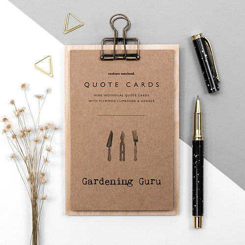 Gardener's Quote Cards with Wooden Clipboard