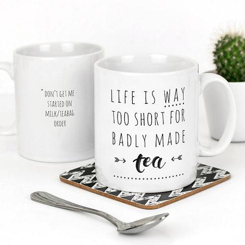 Funny Monochrome Quote Mug for Tea Lovers