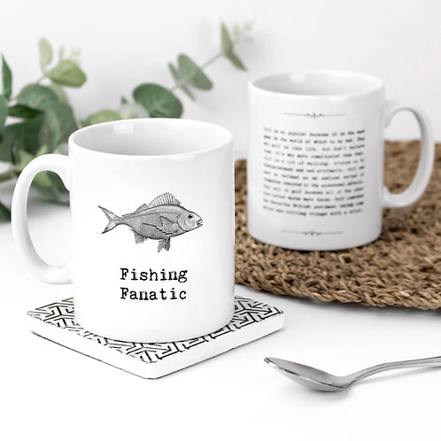 Fishing Fanatic Vintage Words Quotes Mug x 3
