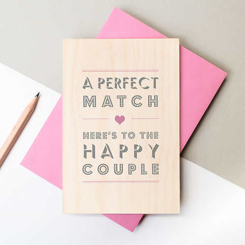A Perfect Match Wooden Plaque Card x 6