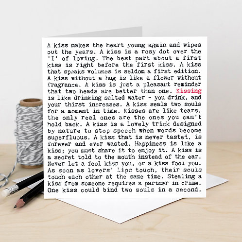 Kissing Wise Words Quotes Card x 6