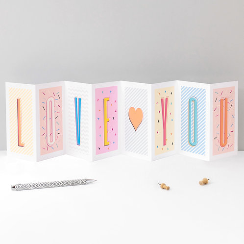 Anniversary Card LOVE YOU Fold Out Banner