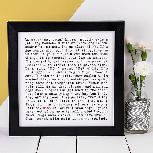 Cats Wise Words Quotes Print
