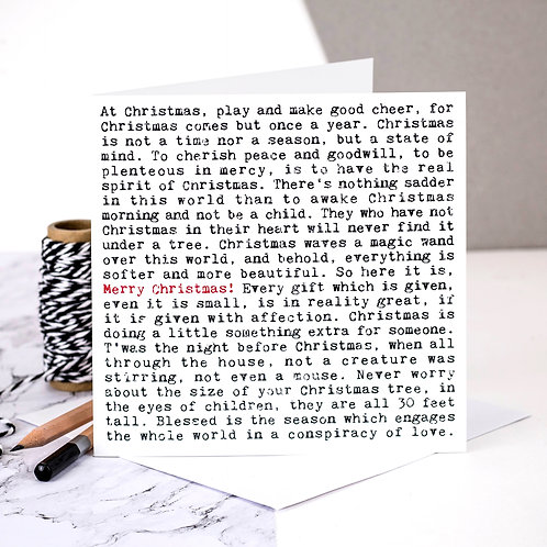 Merry Christmas Wise Words Quotes Card x 6