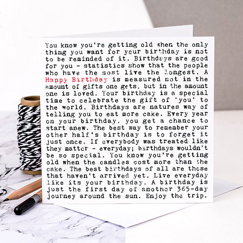 Birthday Wise Words Quotes Card x 6