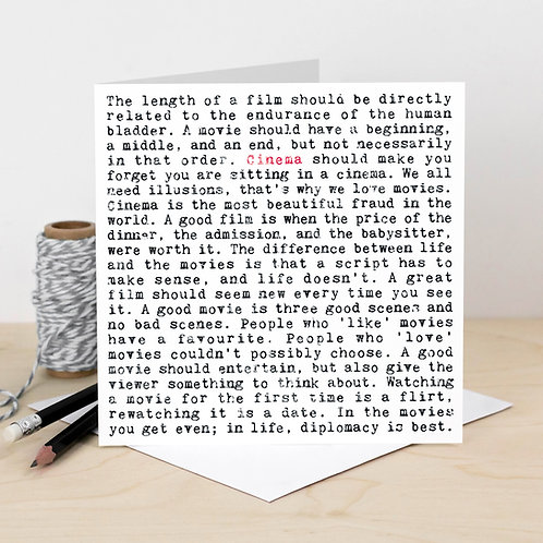 Cinema Wise Words Quotes Card for Movie Buffs