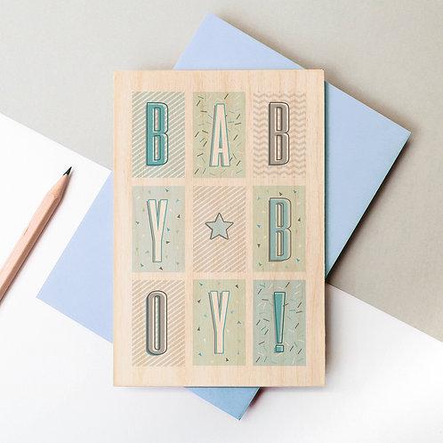 BABY BOY Funky Confetti Wooden Card x 6